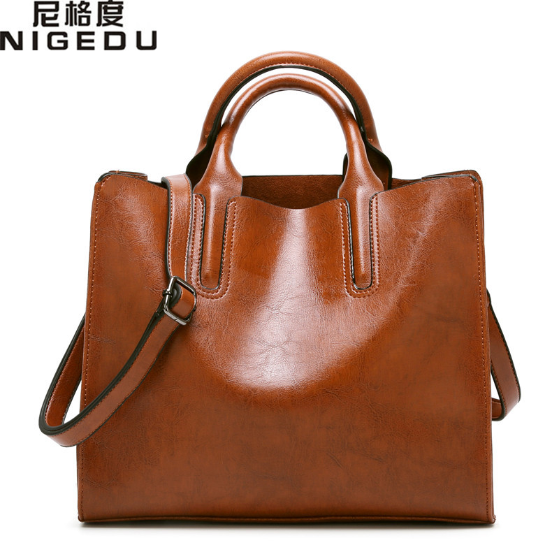 NIGEDU Brand Leather Women Handbags Famous Big Women Tote  Bags Casual Shoulder Bag Ladies large Bolsos Mujer Office bag