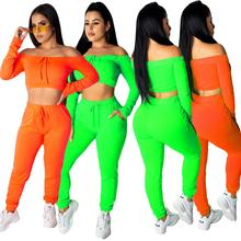 SKMY Neon Green Solid Color Long Sleeve Crop Top And Pants Sexy Two Piece Set Matching Autumn 2019 Women Clothes Club Outfits