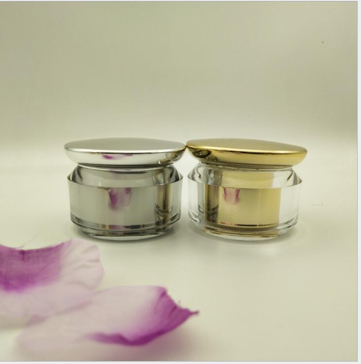 5g shiny silver gold plastic arylic cream jar for sample eye cream art nail essence gel