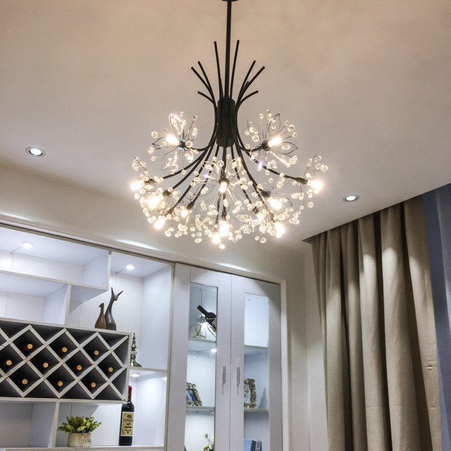 Hanging Light Fixtures Living Room Pictures Of Rooms With Brown Leather Couches Nordic Style Art Crystal Dandelion Chandelier Warm Romantic Bedroom Dinner Cafe G4 Led