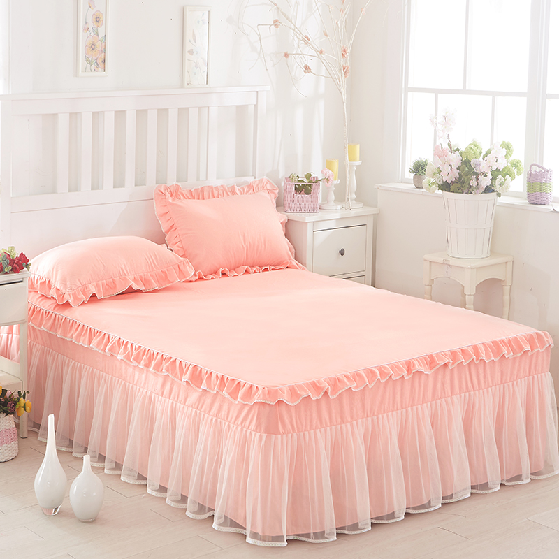 Lace Ruffles Bedspread Bed Skirt Romantic Wedding Bedding 1/3pc Girls gift Bedclothes Mattress Cover Pillowcases Twin Queen King