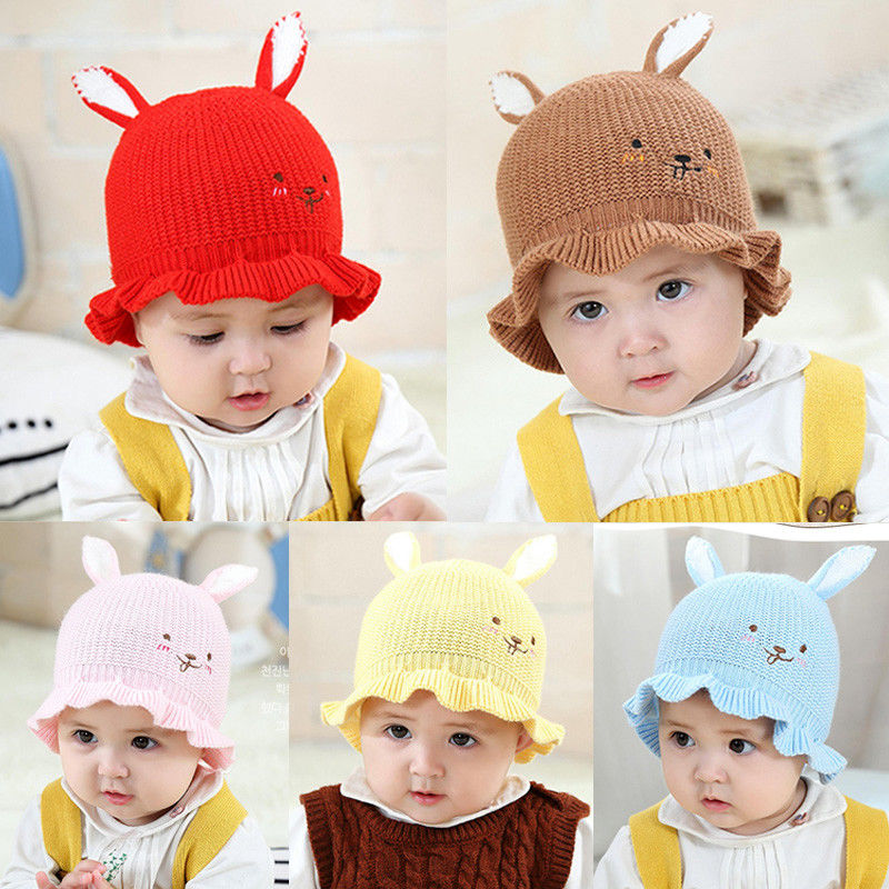 Pretty Baby Girls Hat Infant Toddler Cat Ear Wool Knitted Hat Toddler Baby Girls Winter Warm Crochet Hat Cute Beanie Cap
