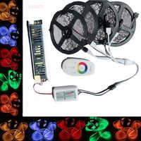 Светодиодная лента 5050 RGB 5 м/10 м/15 м/20 м, комплект с сенсорным экраном 2,4G, Радиочастотный пульт дистанционного управления + адаптер питания 12 В