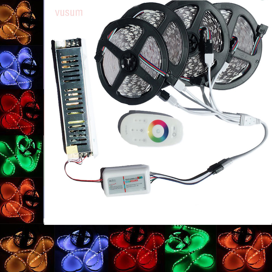 5 M/10 M/15 M/20 M 5050 RGB LED Strip Set Con 2.4G Touch Screen RF Remote Controller + 12 V Power Adapter