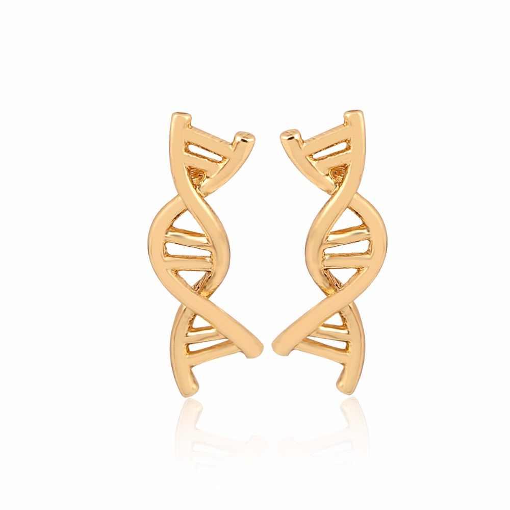 ヒナギク 1 ペア二重らせんイヤリング女性シンプルな DNA スタッドピアス Brinco 生物学科学をテーマにしたステートメントジュエリー