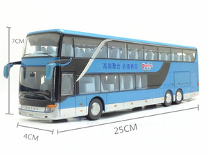 Image 5 - Sale High quality 1:32 alloy pull back bus model,high imitation Double sightseeing bus,flash toy vehicle, free shipping