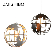 ZMISHIBO Earth Shape Pendant Lamp 100-240V 20CM 30CM Iron American style White Black Indoor Study Living Parlor Decoration Light