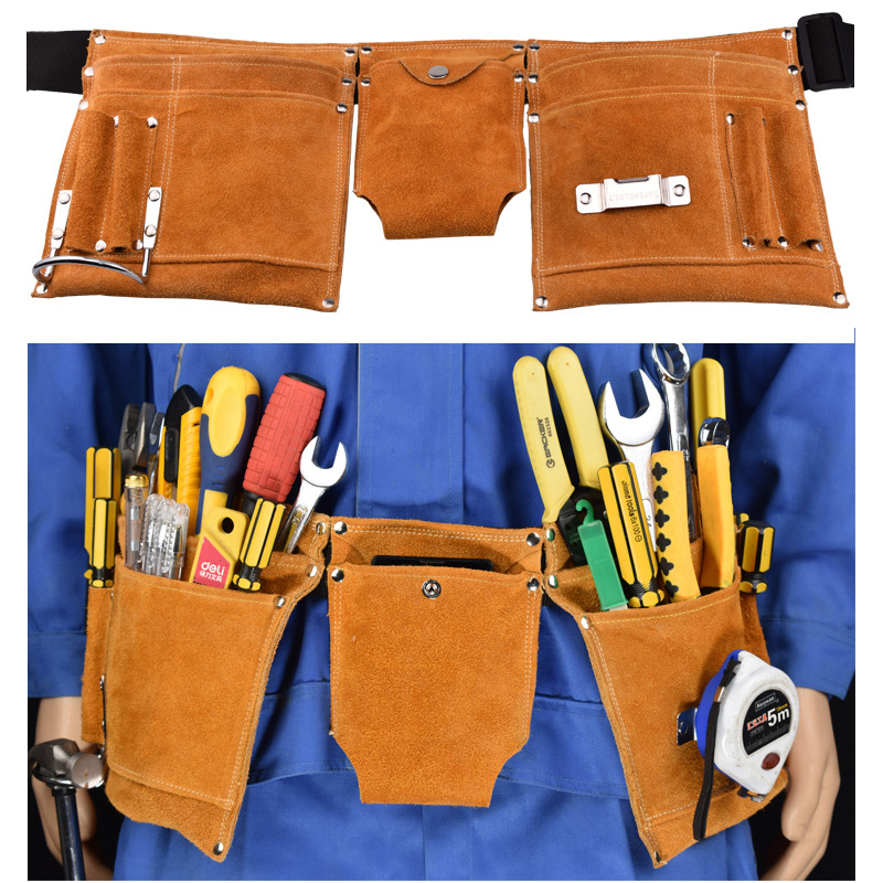 Labor tool pocket Cowhide outside Hanging bag Aerial work Holster Toolkit Labor electrician Tool Waist Bag Multifunction pockets 1 pc oxford hang bag tool bag toolkit without tool sets diy mkwj0164