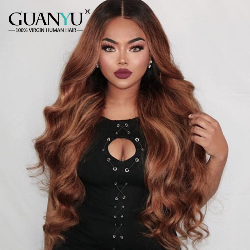 Pre-plucked Ombre #1B/30 Dark Roots Brown Body Wave Brazilian Remy Human Hair 13*4 Lace Front Wigs 130% Density With Baby Hair
