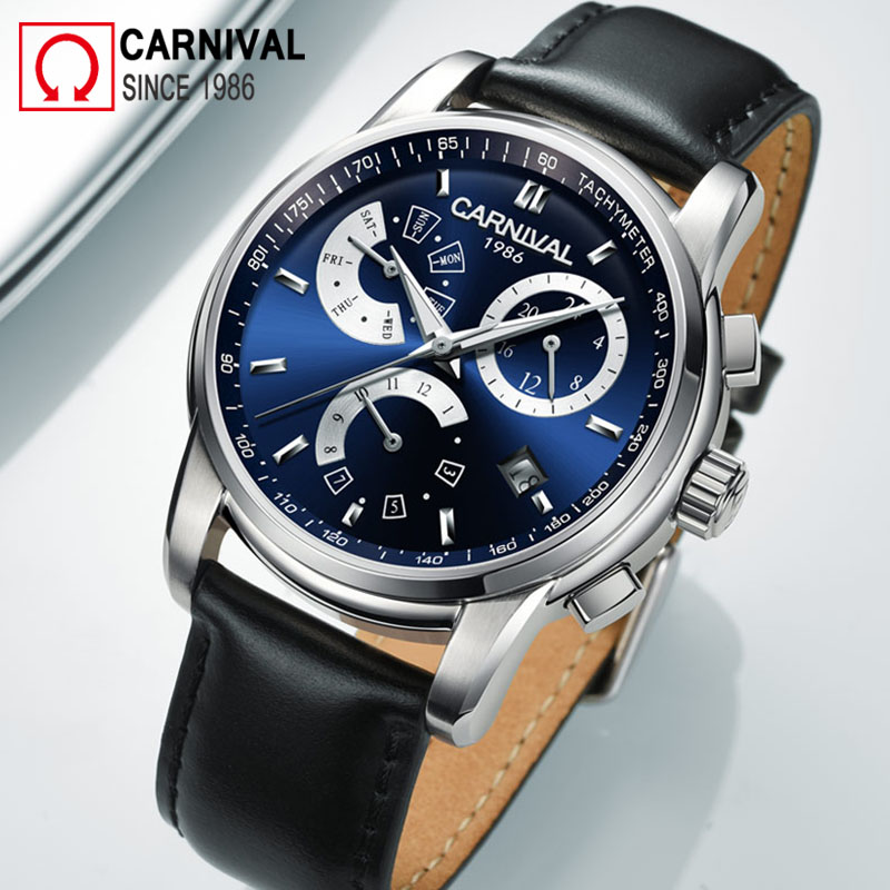 Carnival 2018 Automatic Watch Men Waterproof Mechanical Watches Mens Multifunction Wristwatch Male Luminous Clock montre homme fngeen automatic watches waterproof leather rose gold mechanical watch men male clock luminous montre automatique homme relogio