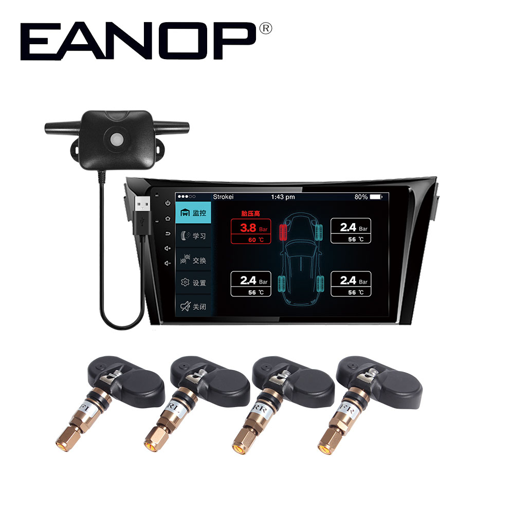 EANOP D100 TPMS Android DVD Player Real time Auto Motorcycle Tyre Pressure Bar Psi Car diagnostic