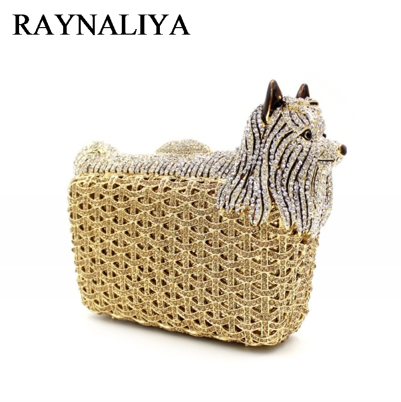 Animal Shape Luxury Party Crystal Bags Women Diamond Evening Clutches Wedding Prom Bag Ladies Small Dog Handbags ZH-A0228