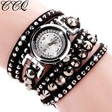 CCQ Brand Luxury Fashion Crystal Rhinestone Watch Casual Leather Women Dress Quartz Watches Gift Relogio Feminino Gift C100