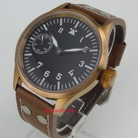 44mm corgeut black sterile dial bronze plated case sapphire glass 6497 hand winding mens watch