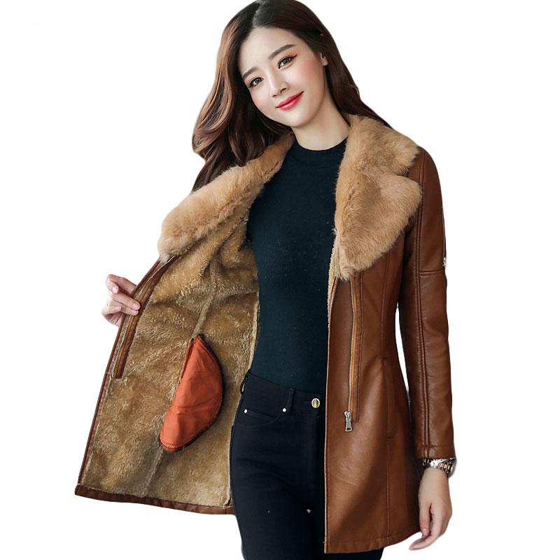 Rex rabbit hair Fur collar Faux   Leather   Coat thick 2019 New Winter Warm Jacket Women PU   Leather   Coat Female Overcoat Plus Size