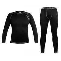 Wosawe inverno velo térmico camada de base de compressão dos homens t camisa de manga longa conjunto de fitness gym correndo calças justas leggings cueca