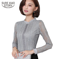 2017 New Arrived Long Sleeve Blouse Autumn Lace Tops Slim Fashion Office Lady Women Shirt C903