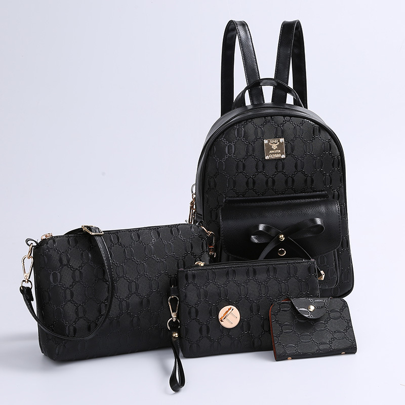 Four piece bag backpack four piece female leisure Korean tide college wind bag embossed bun mother bag 文海扬波:福建省第三届古代文学研究会学术集萃