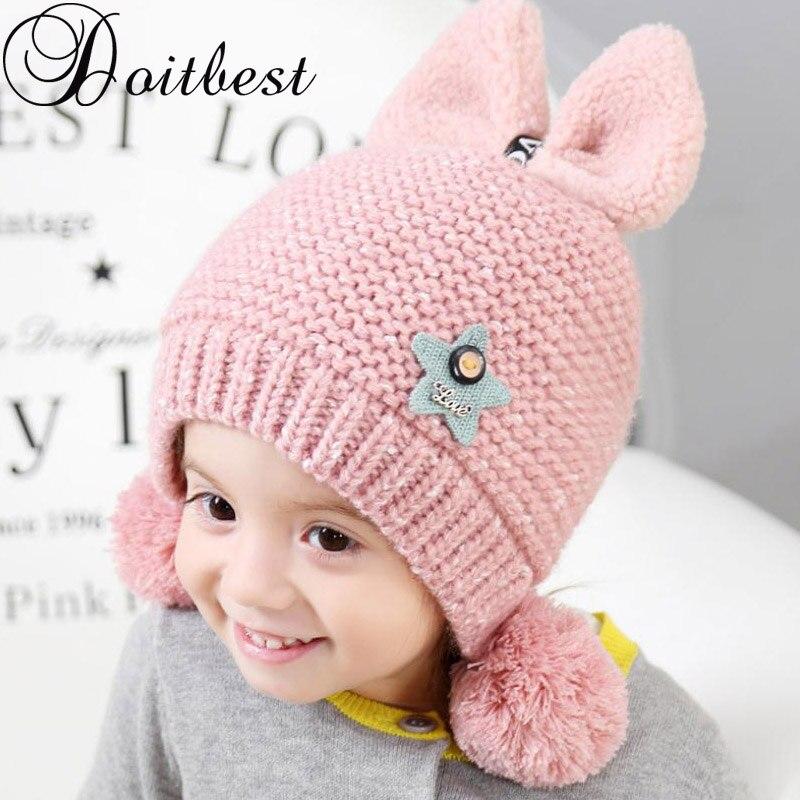 c1701aa0c Doitbest 2 a 6 años además de terciopelo boy gorros Bowknot hairball lana  invierno sombrero hecho punto Niño del bebé niños niñas earflap Caps