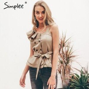 Image 2 - Simplee Sexy one shoulder irregular women camis tops Summer ruffle sashes khaki silk tanks blusas Elegant party female camisoles