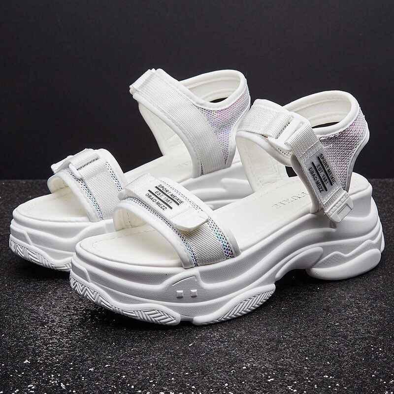 Sıcak Yüksek Topuklu 6 CM Sandalet Kadın Yaz 2019 Kadın Kalın Alt Ayakkabı Kama Burnu açık platform ayakkabılar Artan Ayakkabı