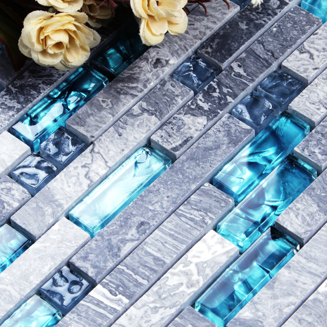 Blau Harz Grau Marmor Stein Lange Streifen Mashup Kristallglas Mosaik Fliesen  Küche Backsplash Badezimmer Hintergrund