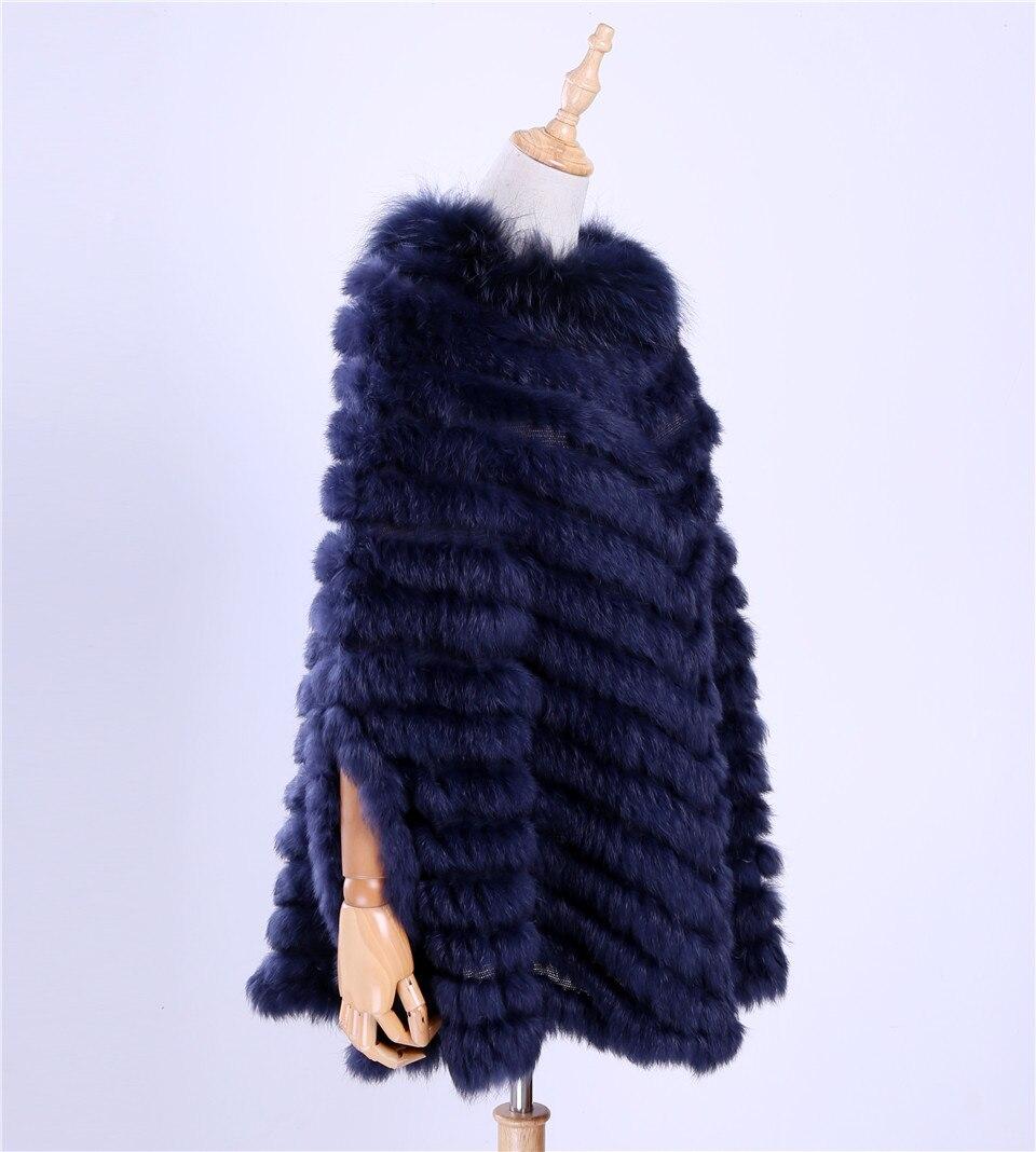 2017 nouveau femmes de luxe pull tricoté véritable fourrure de lapin raton laveur fourrure Poncho Cape écharpe à tricoter enveloppes châle Triangle manteau