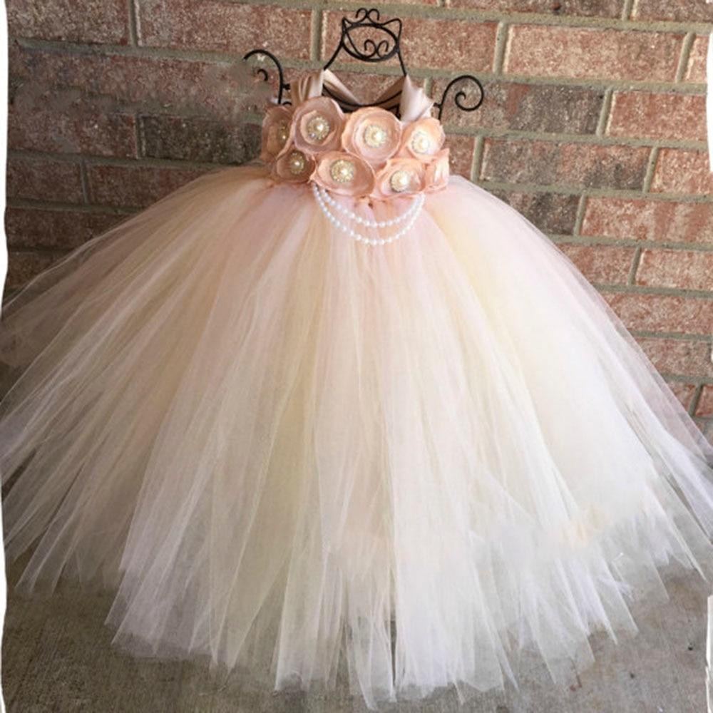 Handmade Blush Flower Girl Wedding Tutu Dress Baby Girls Satin Ribbon Flowers pearl Party Tutu Dresses For Children Birthday