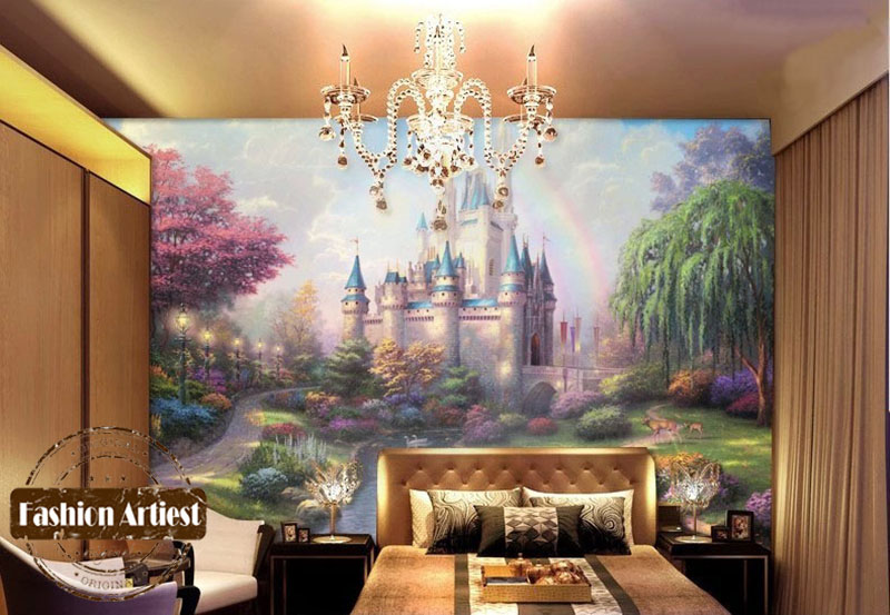 Buy custom cartoon wallpaper mural fairy for Fairy castle mural