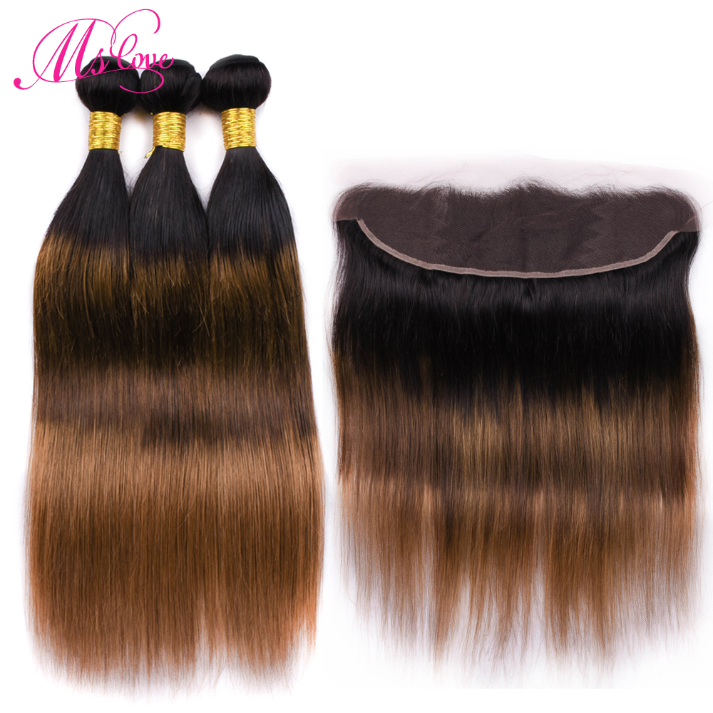 Ms Love Hair Tb 4 30 Three Tone Straight Bundles With Frontal 13 4 Lace Closure