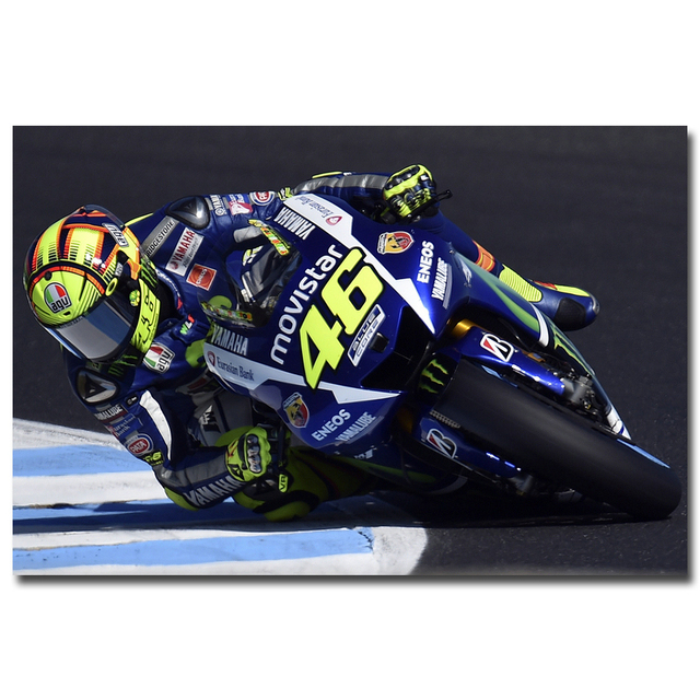 Valentino Rossi NO 46 MotoGP Rider Art Silk Fabric Poster Print 13x20 24x36 Motorcycle Racing ...