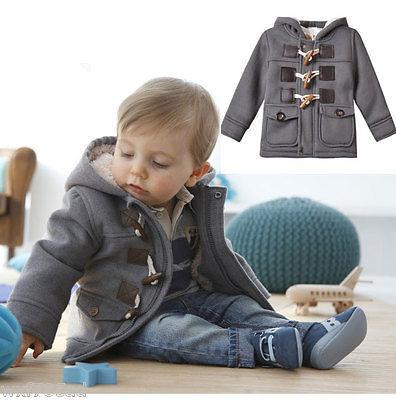 Bebé Infantil Niño Niños Invierno Fleece Cuerno Botón de Abrigo Con Capucha Sudaderas Con Capucha 6 M-3 T
