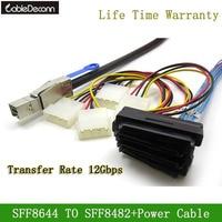 Mini SAS HD (SFF 8644) to 4xSAS 29 Pin Female(SFF 8482) With 4 Pin Power Server Data Cable