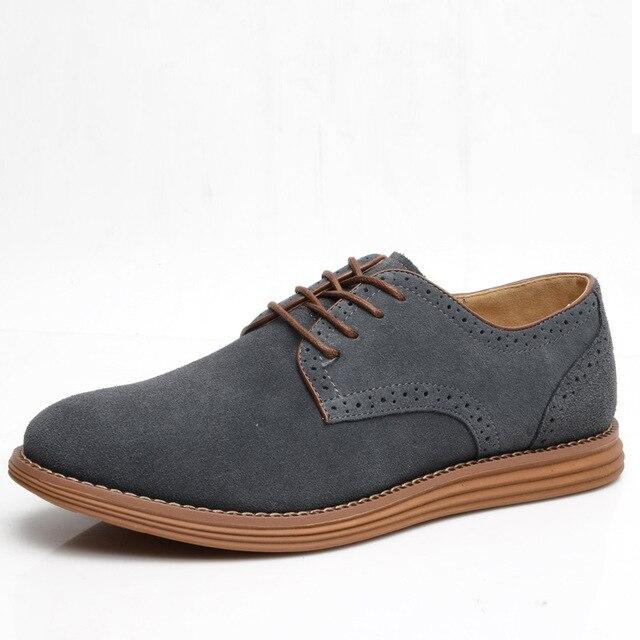 Người Đàn Ông giản dị Giày Thủy Triều Anh Thoáng Khí Chính Hãng Da Ren Lên Giày Oxford Da Lộn Giày Dép Cộng Với Kích Thước 38-48