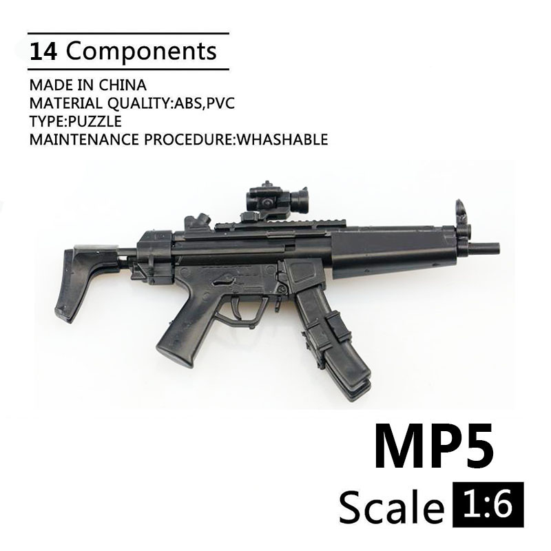 1:6 MP5 Submachine Gun Dualclip Plastic Assemble Firearms Puzzle Model For 1/6 Soldiers Military Weapons Building Blocks