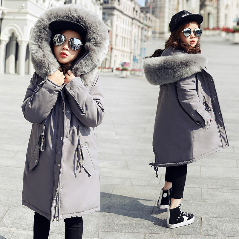 2019 Long Winter Coat Thickening Children Girls Hooded Jackets Fashion Warm Coats Cotton down Padded Kids