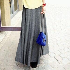 Image 1 - New Casual Elegant Women Cotton Long Skirts Elastic Waist Pleated Maxi Skirts Beach Boho Vintage Summer Skirts Faldas Saia D160