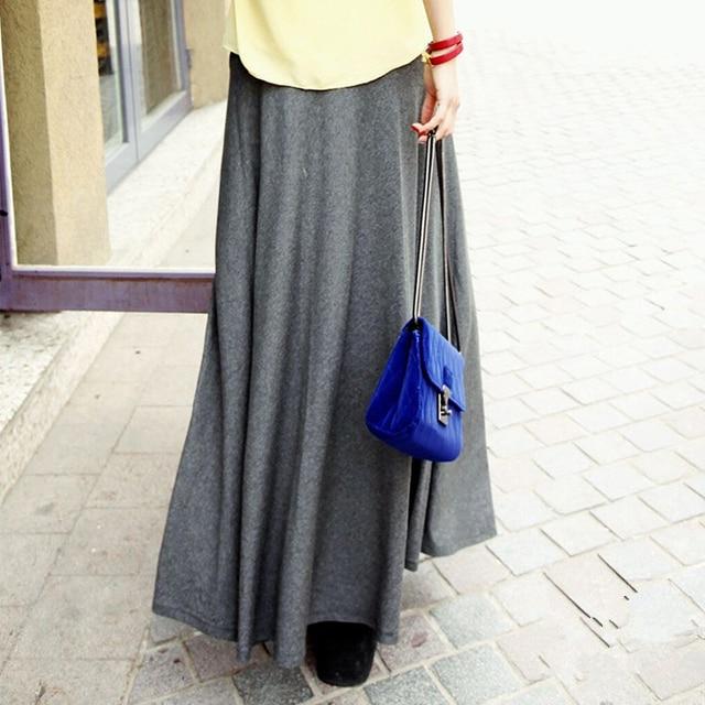 New Casual Elegant Women Cotton Long Skirts Elastic Waist Pleated Maxi Skirts Beach Boho Vintage Summer Skirts Faldas Saia D160