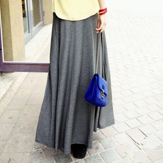 afbdffec4 Nuevas mujeres elegantes ocasionales algodón Faldas largas cintura elástica  plisada Faldas Maxi playa Boho Vintage Faldas Saia D160