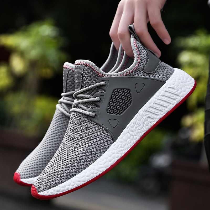 55f7d7f80 ... 2018 Fashion Men Shoes Casual Weaving Fly Mesh Breathable Light Soft  Black Slipon Mens Shoe Male ...