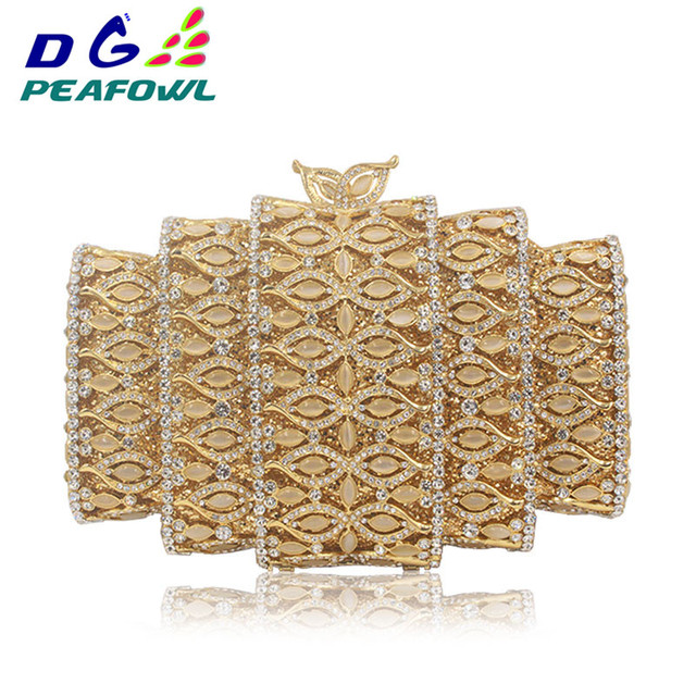 Fashion Dazzling Gold Hollow Out Crystal Women Evening Clutch Bags Stones Beaded Female Wedding Bridal Diamond Minaudiere Purse