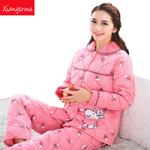 Xiangerma Adults Pajamas Full Sleeve Pyjama Women Suit Winter Pajama Polyester Sets Woven Cotton Pajamas Knitted