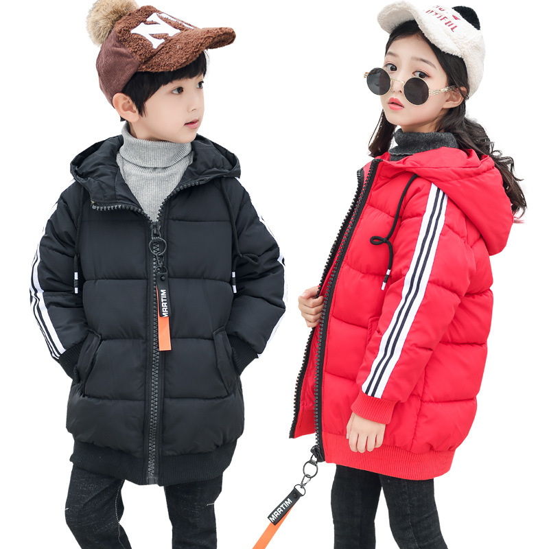 2018 Children 's Jacket Boys Girls Long Coat Fur Collar Large Winter Coat Hooded Unisex Thicken Kids Overcoat 5-14Y free shipping 2016 summer diamond woman sandals casual flat thong flip flops fashion beads wild sandals white black st338