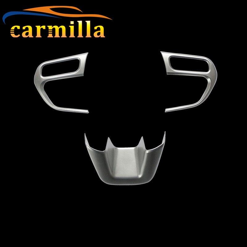 Carmilla 3 Pcs/Set Chrome Steering Wheel Decorative Cover Trim Sticker For Jeep Compass 2017 2018 Renegade 2015 2016 2017