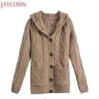 Autumn Winter Women Fashion Single Button Pocket Hooded Sweater Casual Lady Warm Long Sleeve Knitwear Coat