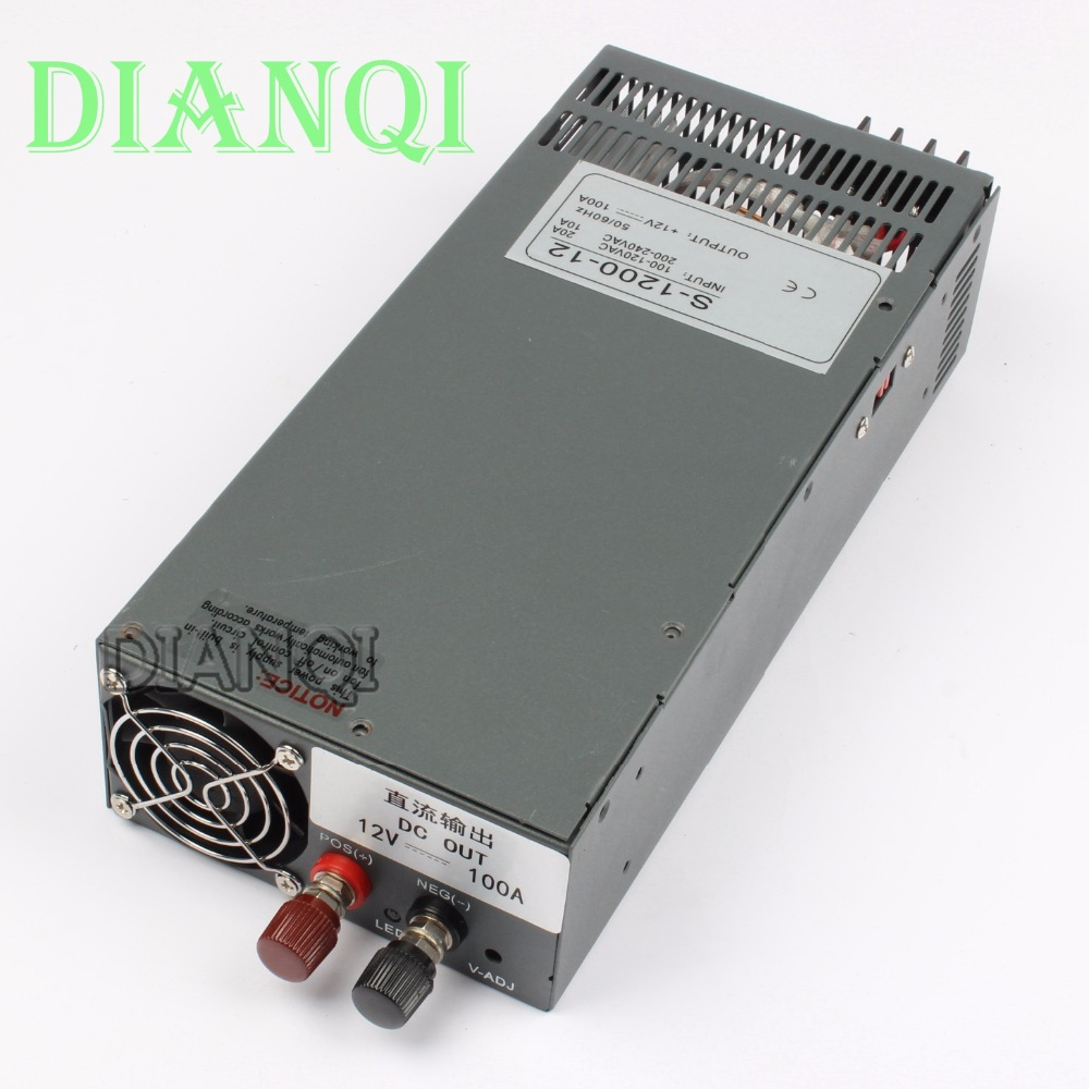 1200W 12V 100A Switching power supply for LED Strip light AC to DC power suply input 110v 220v 1200w S-1200-12 72V 48V 72V 24V 320w led switching power supply 26 7a 21 3a 13 3a 85 265ac input for led strip light power suply 5v 12v 24v 48v output