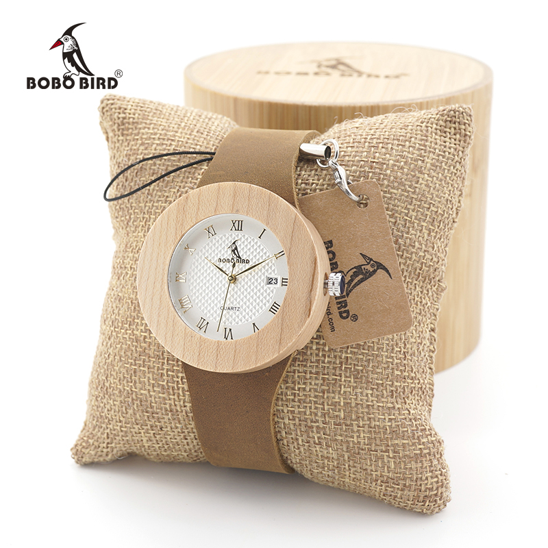 BOBO BIRD Bamboo women Wooden Watches Ladies Round Sport Quartz Wood Watch with Real Leather Strap relojes mujer bobo bird l b08 bamboo wooden watches for men women casual wood dial face 2035 quartz watch silicone strap extra band as gift