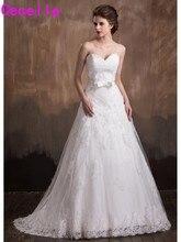 2017 Civil Glamorous A-line Appliques Bridal Gowns Formal Ivory Long With Train Corset Wedding Gowns Vestidos De Novia Custom
