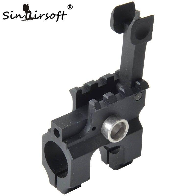SINAIRSOFT Taktische Clamp-Auf Gas Block Mit Folding Front Sight CNC Aluminium Gefräste Eisen Für Gewehr Jagd Zubehör Schwarz