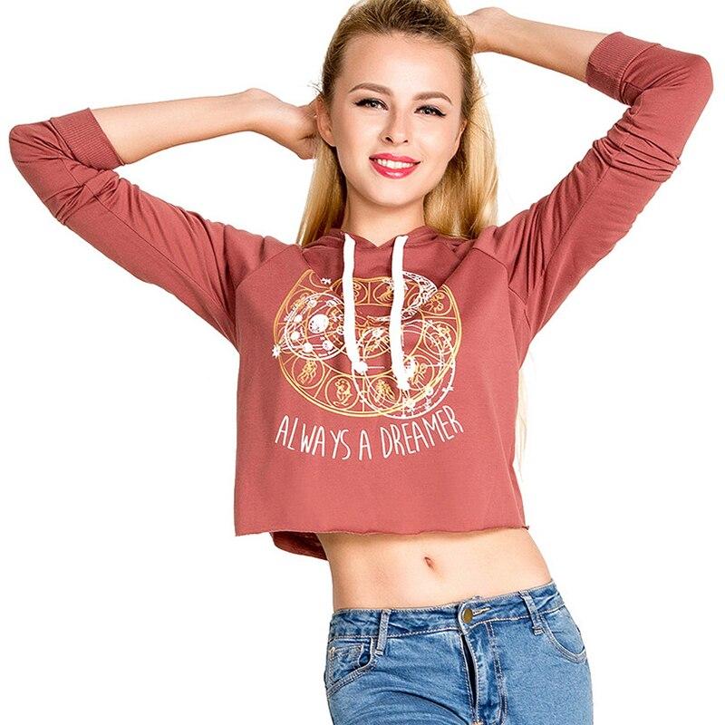 Autumn font b Women b font Casual Hoodies Long Sleeve Print Fashion Punk Cute Crop Top